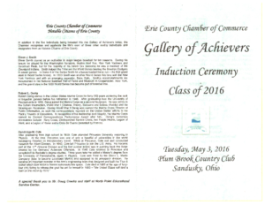 Induction Ceremony: Gallery of Achievers Class of 2016
