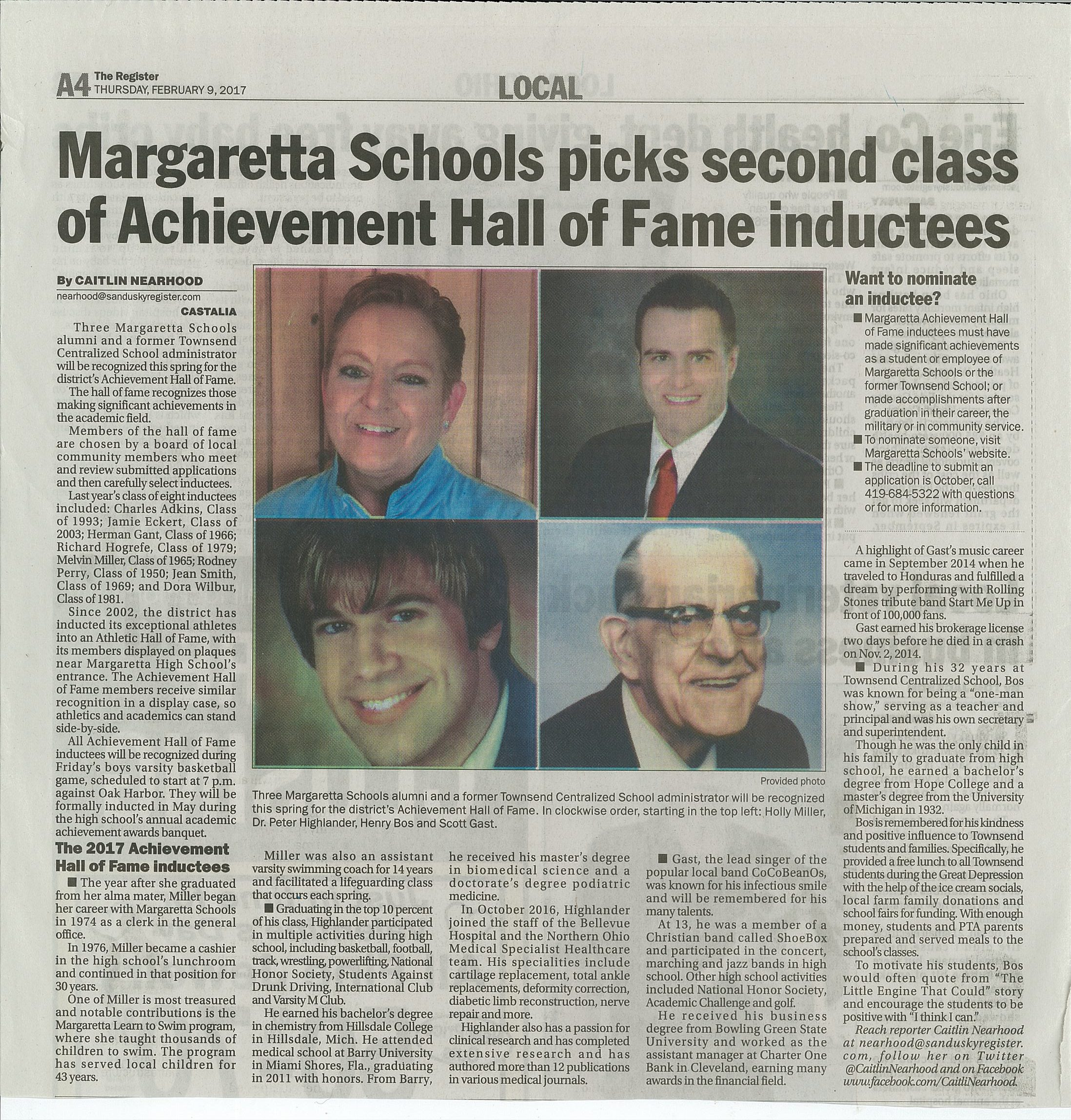 Margaretta Achievement Hall Of Fame