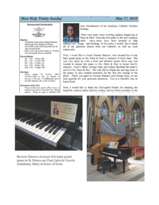 Piano Donated to Church